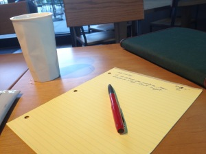 """Writing at a coffee shop,"" photo by Theresa Barker."