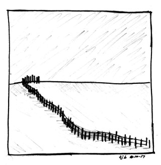 Fences and Snow (v. 1), sketch by Theresa Barker.
