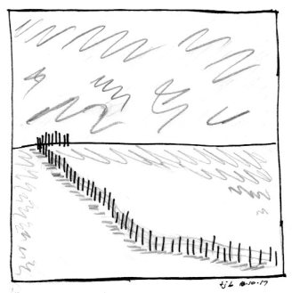 Fences and Snow (v. 2), sketch by Theresa Barker.